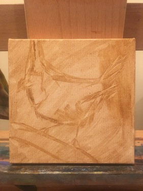 The Red Cardinal preliminary tone underpainting