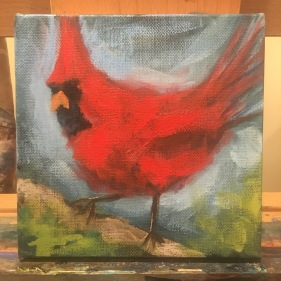 The Red Cardinal under painting