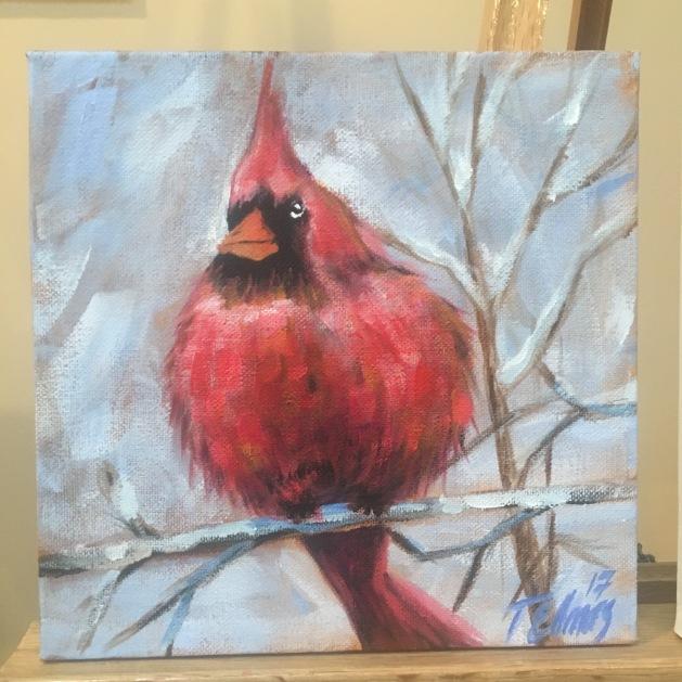 The Christmas Cardinal; 8 x 8 in., Acrylic on Canvas